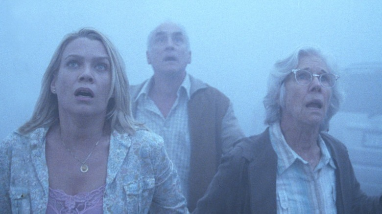 Amanda, Dan, and Irene look up in alarm