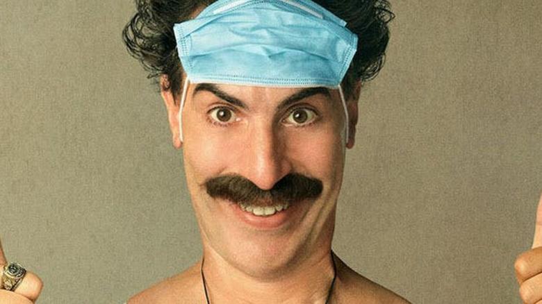 Borat 2 mask on face thumbs up