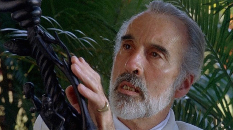 Sir Christopher Lee examines plant