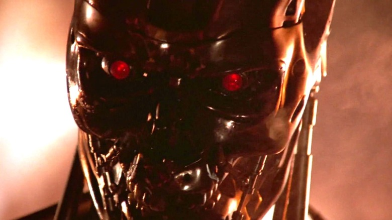 A close-up of the T-800's skull from The Terminator
