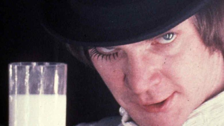 Malcolm McDowell drinks milk