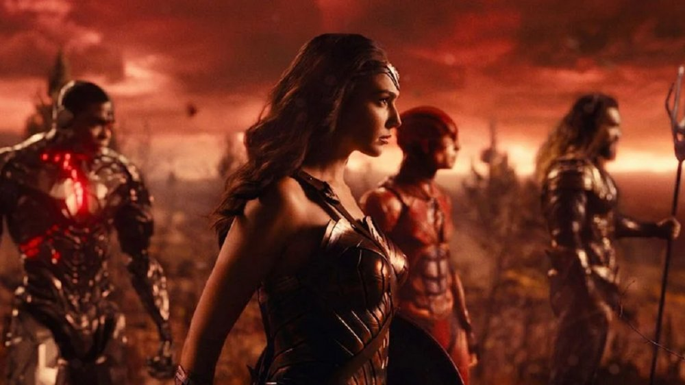 Ray Fisher, Gal Gadot, Ezra Miller, and Jason Momoa in Justice League