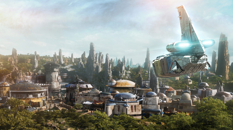 a concept render of Batuu, the planet represented at Galaxy's Edge park