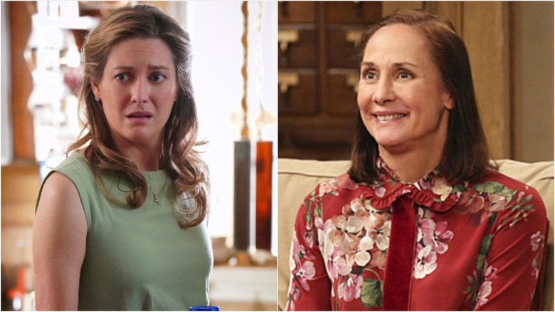 Zoe Perry in Young Sheldon and Laurie Metcalfe in The Big Bang Theory