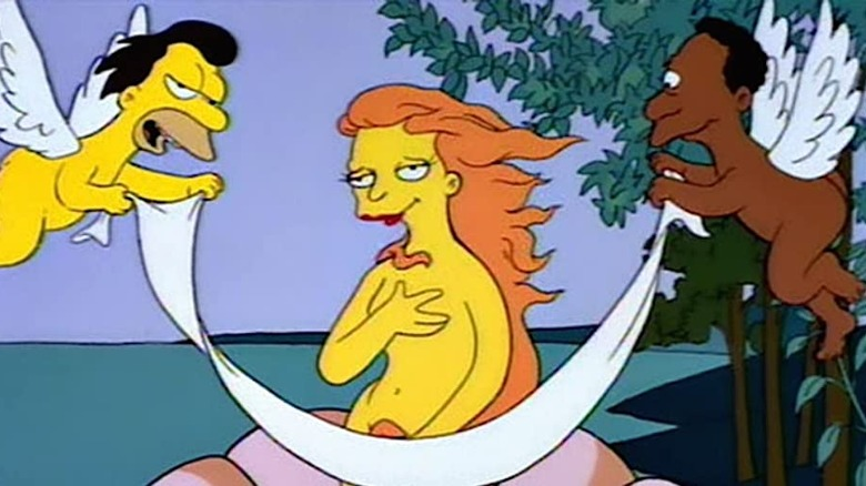 Mindy, Lenny and Carl in the Birth of Venus