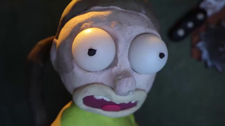 Morty stares in shock at the television