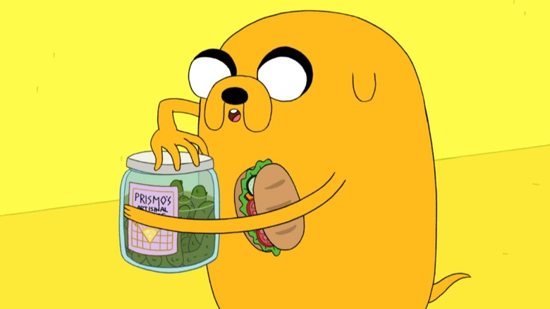 Jake the Dog has a snack on Adventure Time