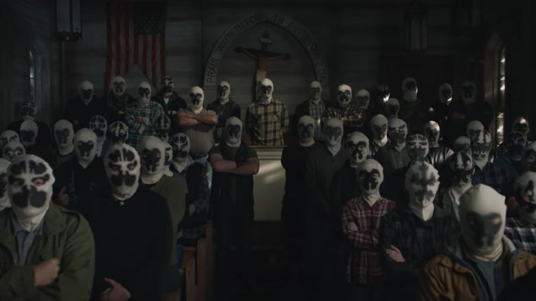 The mysterious cult of Rorscachs from HBO's first teaser trailer for its Watchmen series
