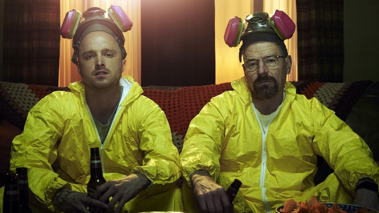 Aaron Paul and Bryan Cranston in a promo photo for Breaking Bad