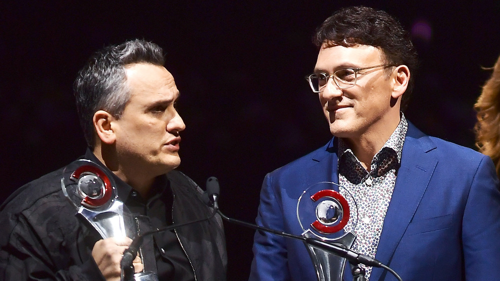 Joe Russo and Anthony Russo standing at microphone