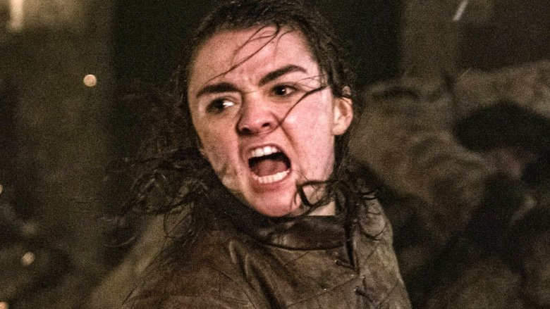 Maisie Williams as Arya Stark on Game of Thrones season 8 episode 3