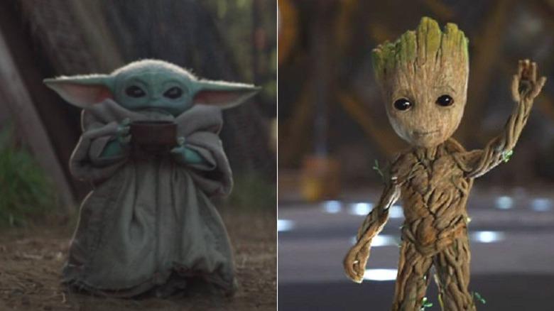 Baby Yoda and Baby Groot