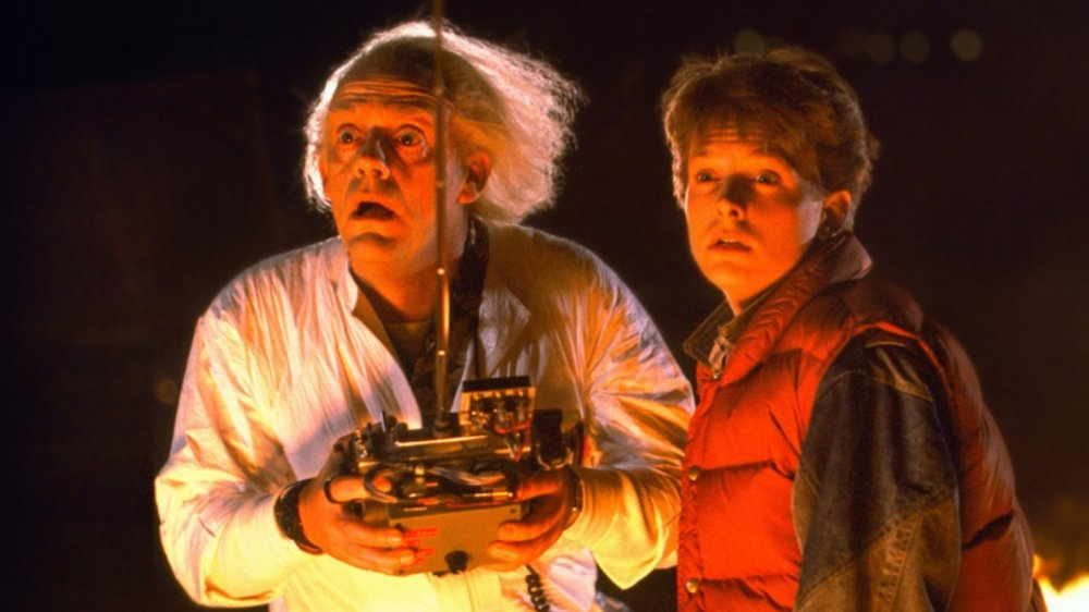 Christopher Lloyd and Michael J Fox as Marty McFly and Doc Brown in Back to the Future