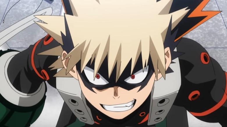 Bakugo showing an evil smile