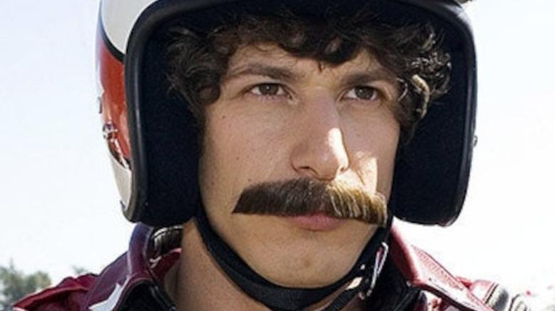 Andy Samberg wearing mustache