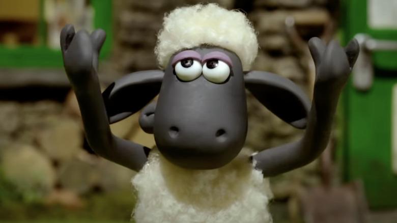 Shaun the Sheep throws arms up