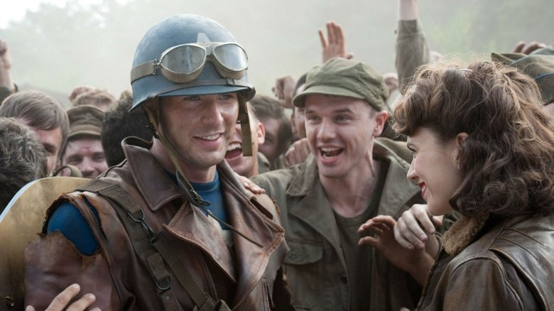 Chris Evans and Hayley Atwell in Captain America: The First Avenger