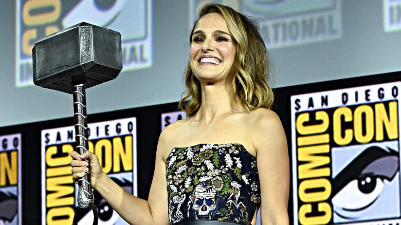 Natalie Portman with Mjolnir
