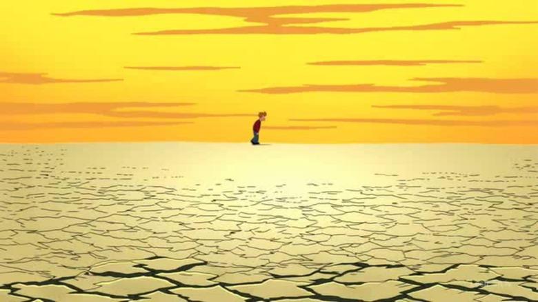 Fry walking in desert