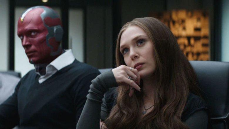 Paul Bettany and Elizabeth Olsen in Captain America: Civil War