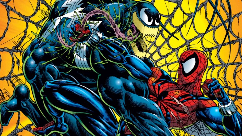 Venom and Spider-Man fighting on the cover of 1996's Venom: Along Came A Spider #1