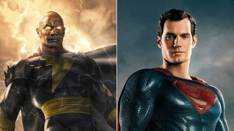 Black Adam concept art and Henry Cavill as Superman in Justice League