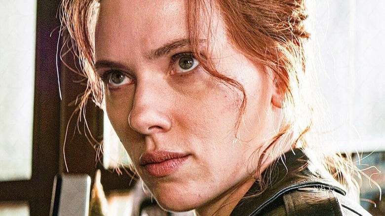 Black Widow with her hair in her face