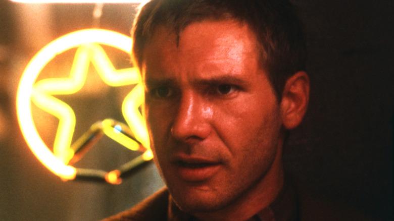 Deckard narrowing his eyebrows