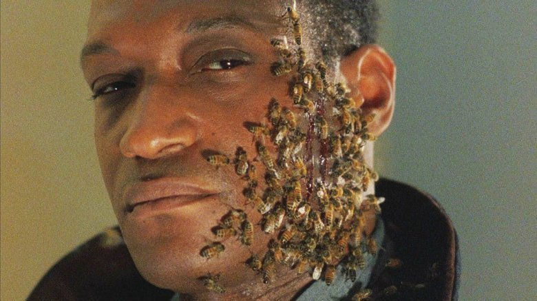 Candyman Tony Todd bees on face