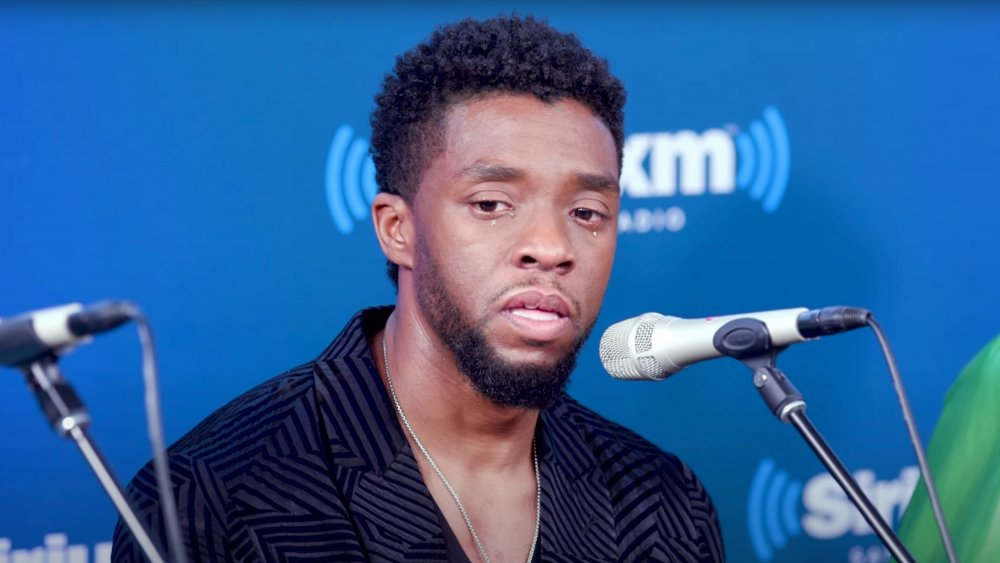 Chadwick Boseman during a SiriusXM interview event for Black Panther in 2018