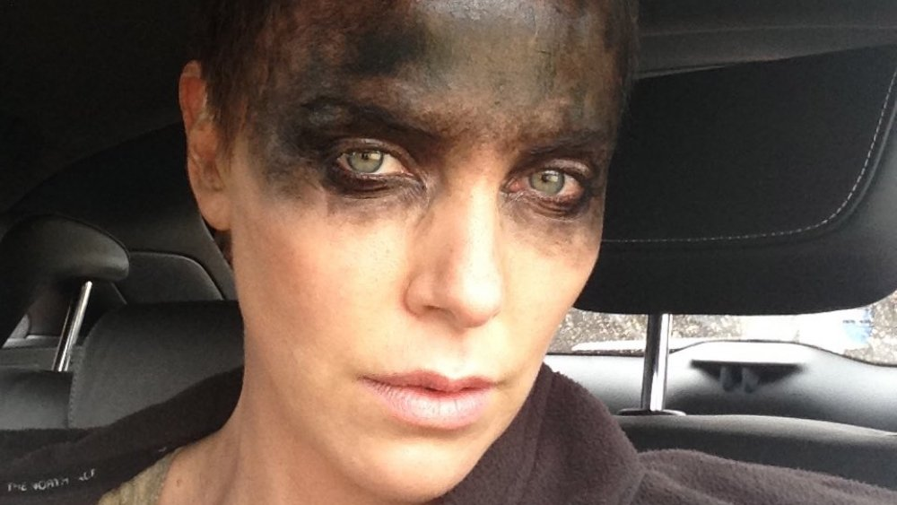 Charlize Theron posted this selfie from the set of Mad Max: Fury Road