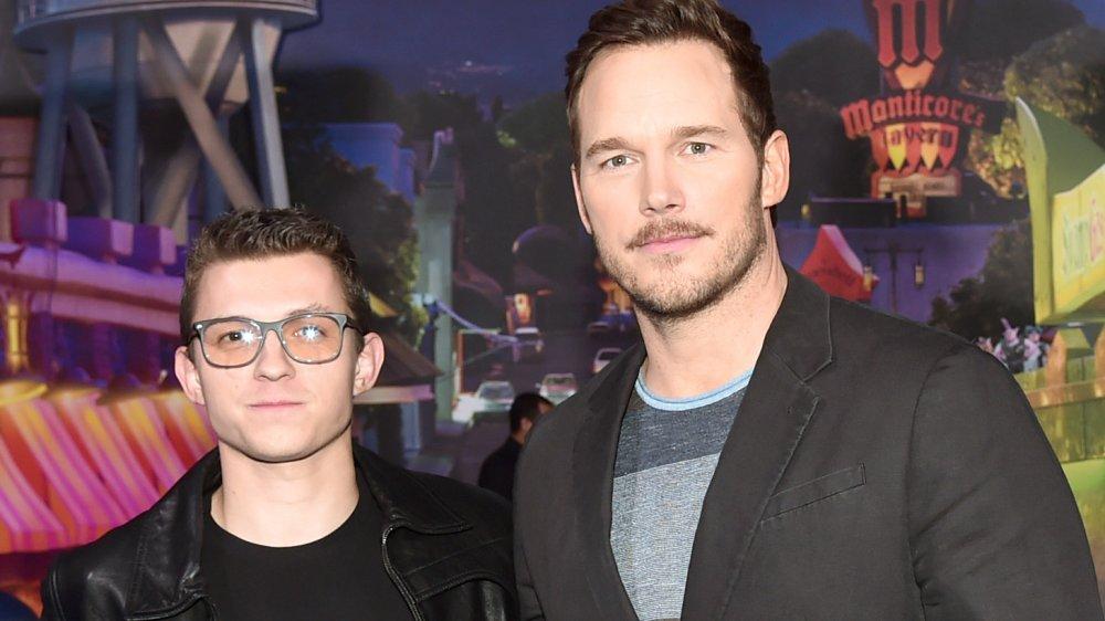 Tom Holland and Chris Pratt at the Onward world premiere
