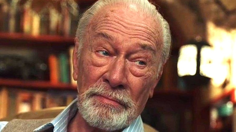 An extreme close-up of Christopher Plummer in Knives Out