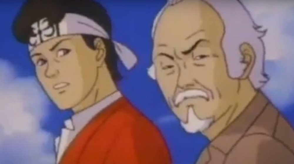 Daniel LaRusso and Mister Miyagi in the Karate Kid cartoon