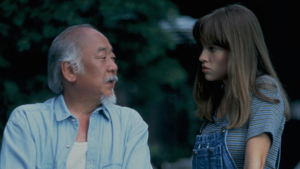 Hillary Swank and Mr. Miyagi