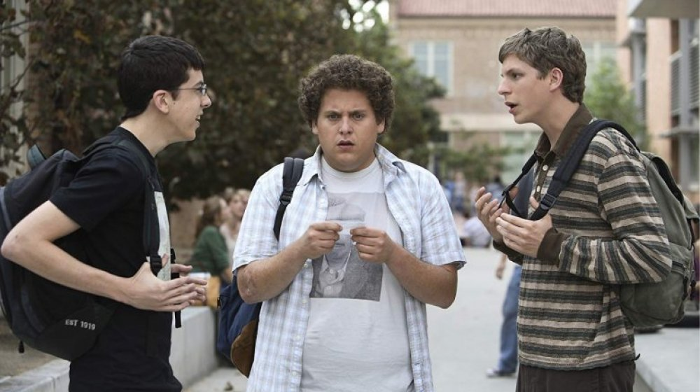 Jonah Hill as Seth, Michael Cera as Evan, and Christopher Mintz-Plasse as Fogell in Superbad