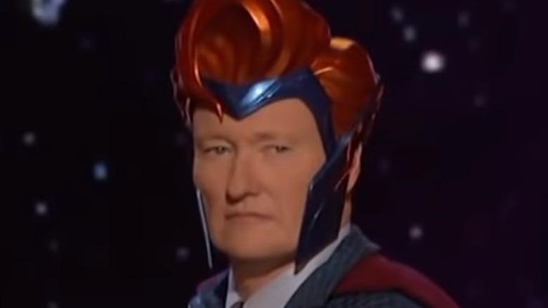 Conan O'Brien dressed as superhero