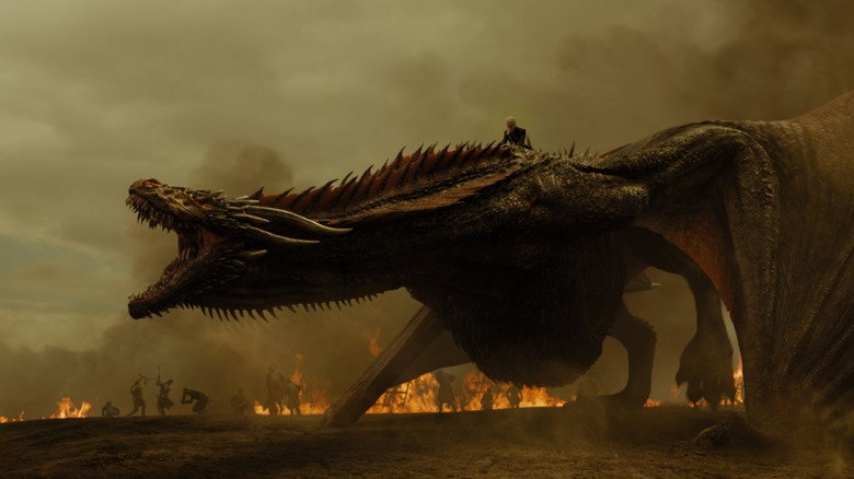 Daenerys on one of her dragons on Game of Thrones