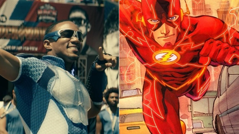 Jessie Usher as A-Train on The Boys and art of The Flash by Francis Manapul