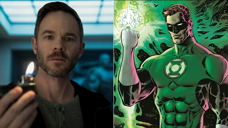 Shawn Ashmore as Lamplighter in The Boys and the cover art of Green Lantern: Intergalactic Lawman by Liam Sharp