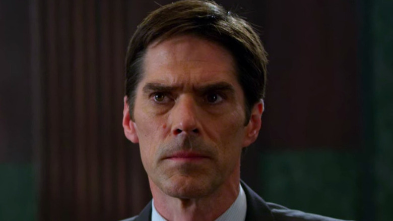 Thomas Gibson stares intensely on Criminal Minds