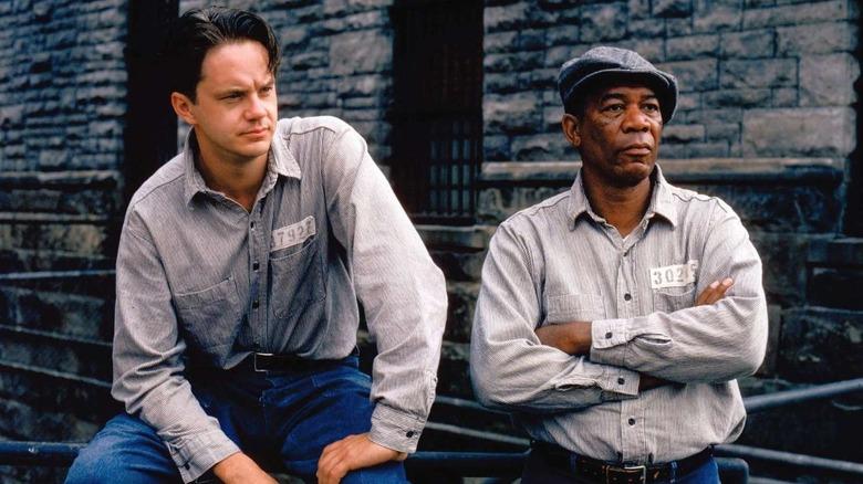 """Morgan Freeman and Tim Robbins in The Shawshank Redemption"""