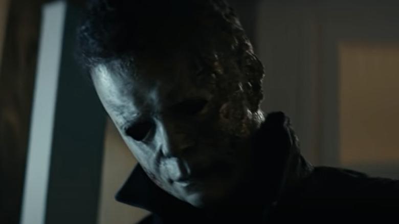 Michael Myers wearing a burnt mask
