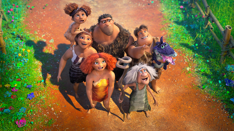 Thunk Crood (Clark Duke), Gran (Cloris Leachman), Eep Crood (Emma Stone) and Ugga Crood (Catherine Keener) in DreamWorks Animation's The Croods: A New Age, directed by Joel Crawford.