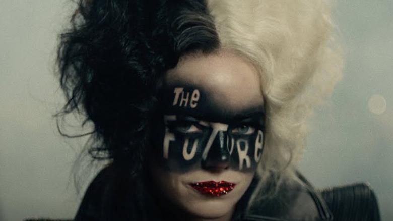 Cruella's punk-fantasy makeup
