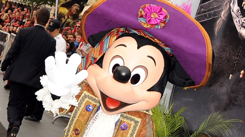 Mickey Mouse at the premiere of a Pirates of the Caribbean movie at Disneyland