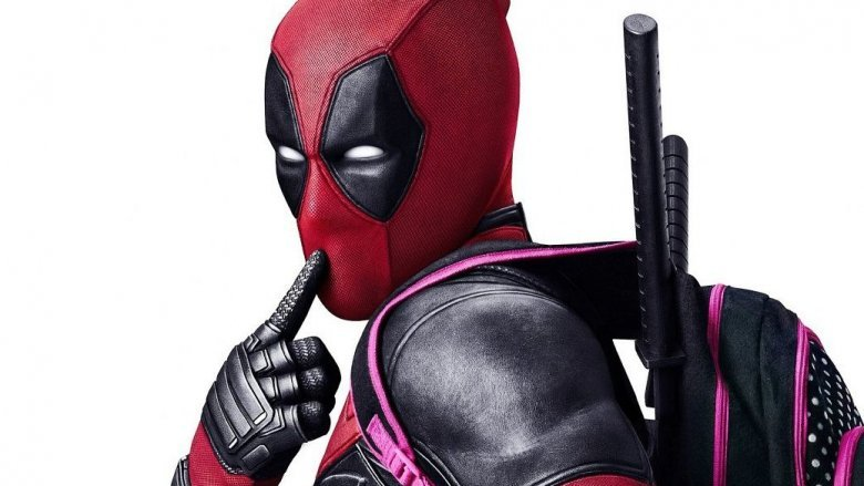Deadpool pointing at mouth
