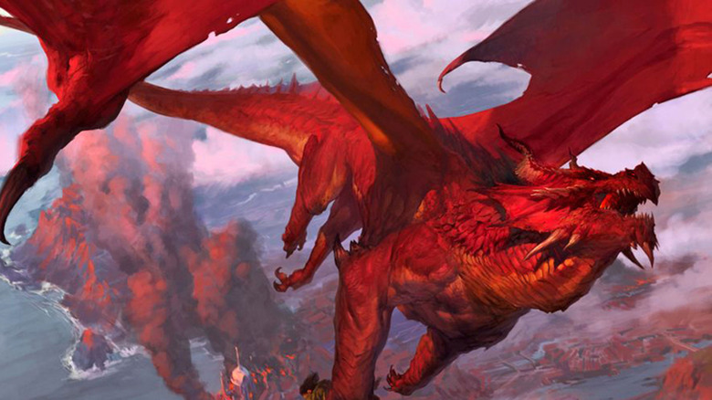 a red dragon, a powerful evil creature featured in D&D lore