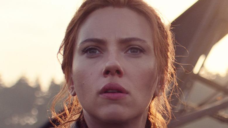 Scarlett Johansson Black widow staring curious
