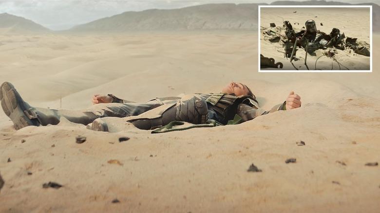Loki and Iron Man in sand